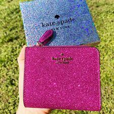Kate Spade Lola brillo en caja pequeña L-Cremallera Cartera Plegable convertible color de rosa caliente