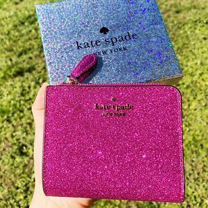 Kate Spade Lola Glitter Boxed Small L-Zip Bifold Wallet Convertible Hot Pink