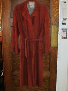 Vintage 1970's Ladies Bob White EvaDry Lamb Suede Rust Long Coat Jacket Size 10