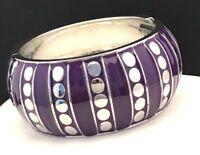 Spring Street Bracelet Hinged Bangle Silver & Purple Enamel Nordstrom SSB