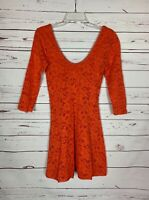 Free People Women's S Small Orange Lace 3/4 Sleeves Cute Spring Summer Dress