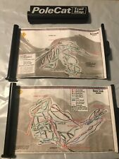 Vintage 1986 Scrolled Ski Trail Maps With Polecat Retractible Pole Mount Holder