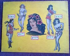 ACE HARLYN -  CLASSIC PINUPS - ORIGINAL 1940s VINTAGE TATTOO FLASH SHEET