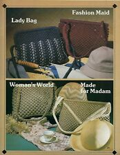 Handsome Handbags to Macrame Vintage Book #7682 Purse Clutch Patterns