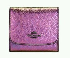 New COACH Small Wallet in Hologram Leather 55719 Rainbow Iridescent