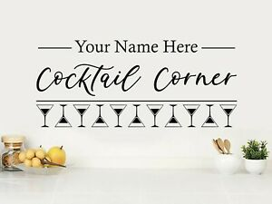 """Personalised Wall Quote """"...Cocktail Corner"""" Sticker Decal Decor Transfer Quote"""
