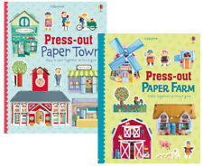 Usborne Press Out Paper Town & Press Out Farm by Fiona Watt 2 Hardcover Set