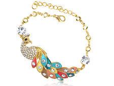 Gold Colorful Fun Peacock Simple Crystal Rhinestone Charm Bangle Bracelet Chain