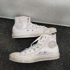 Señoras Converse Chuck Taylor All Star Hi Top Zapatillas Piel Blanca tamaño de Reino Unido 4