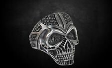 Gothic Skull Men's Biker Ring Black stone Punk Oxidized In 925 Sterling Silver