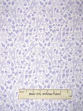 Petite Paris Eiffel Tower Cupcake Heart Purple Cotton Fabric Michael Miller YARD