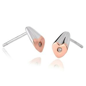 NEW CLOGAU WELSH GOLD & SILVER CARIARD DIAMOND EARRINGS. Ref: 3SCTE RRP £169