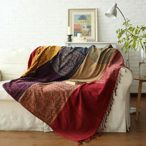 Bohemian Large Chair Throw Blanket Boho Sofa Cover Towel Soft Cotton Tapestry AL