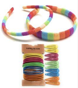 Mega Girls Rainbow Hair Accessories Bundle Set - Headband Clips Bobbles Gift