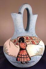 BJ Gore Art Pottery San Jon NM  Aqua Blue Wedding Vase 12 in