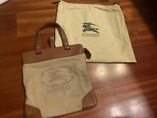 Authentic Vintage Burberry Logo Canvas Stowell Roll Up Tote Bag Nova Check Khaki
