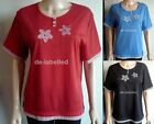 Ladies Paramour flower design Short Sleeve Top Tshirt Summer NWT