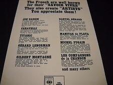 JOE DASSIN Danyel Gerard TITANTIC Michel Fugain others 1972 FRANCE Promo Ad mint