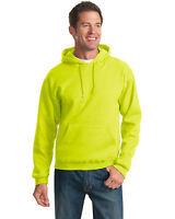 Jerzees 996M Safety Yellow Green Neon Hi Vis Sweatshirt Pull Over Hooded  Hoodie