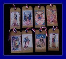 Beautiful Vintage 4Th Of July Hang Tags With Patriotic Ribbon