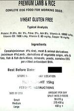 2 x 15kg Premium Lamb & Rice Complete Dry Dog Food Hypoallergenic Gluten Free