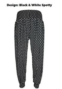 NEW STRETCHY LADIES PRINT LONG WOMENS HAREM TROUSERS SIZE 8-16