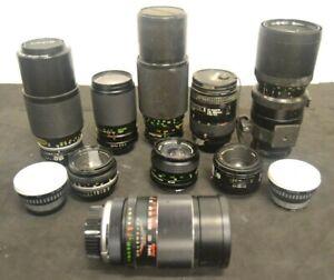 Mixed Camera Lens Lot (9) Parts or Repair