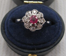 Vintage Ruby & Diamond Daisy Ring in 18ct & Plat