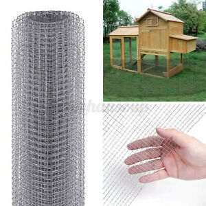 24in x 50ft Galvanized Poultry Net Metal Mesh Fencing for Animals Garden Home