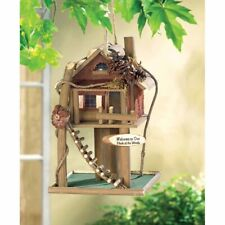 Tree House Shaped Birdhouse Bird Feeder Roof Opens