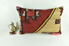 Kilim Pillow Cover 16x24 Traditional Oushak Rug Handmade Lumbar Cushion 3113