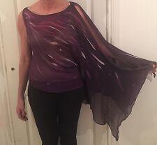 Beautiful DesIgner Maria Grachvogel Purple Silk Bias Cut Evening Top  Size 12