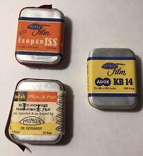 5-Rolls Of Minox Film, 3 Tins, Germany ADox kB 14,Isopan Iss, Kodak B&W