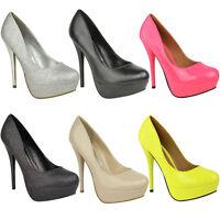 New Womens Ladies High Heel Platform Court Shoes Stilettos Sexy Party Pumps Size