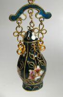 Cloisonne kleine Vase Väschen Flasche emailliert dunkelblau neu