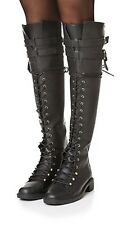 Joie Gryffin Over the Knee Boots Lace Up Buckle Black Leather  EU 36.5 US 6 NEW