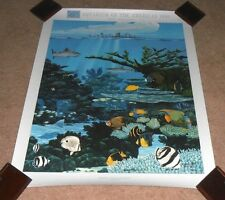 VINTAGE 1990 AQUARIUM OF THE AMERICA'S SIGNED & #ED POSTER PRINT NEW ORLEANS LA.