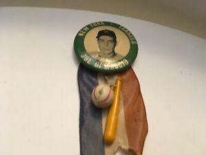 1940's Baseball Pin Button Coin Joe DiMaggio New York Yankees Pinback Ribbon