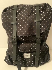 Herschel  Small School Laptop Backpack Black Polka Dot, Red/white Stripe Int.