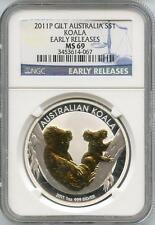 2011 P 1oz 1 Dollar Gilded Australian Silver Koala NGC Graded MS 69 ER