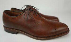 Allen Edmonds USA Vernon Saddle Brown Calf Perf Cap Toe Shoes Oxford Size 9.5 D
