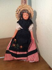 Vintage Old 8 1/2� Jointed Celluloid Doll Red Stipes Black Apron Sraw Hat