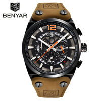 BENYAR Genuine Leather Band Men Military Quartz Wrist Watch Pin Buckle Gift Box