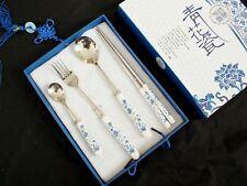 Chinois Set de couverts Avec Cuillère Fourchette baguettes en céramique poignée parti boîte cadeau A5