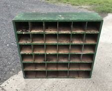 More details for wooden display unit cupboard pigeon holes vintage upcycle rustic industrial