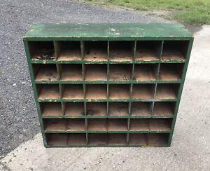 Wooden Display Unit Pigeon Holes Vintaged Used Upcycle Used Rustic Industrial