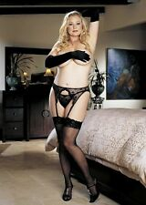 Plus-Size Lace-Top Thigh-High Stockings Shirley of Hollywood 90026x Black NEW