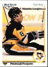 1990-91 Upper Deck #178 Mark Recchi ROOKIE CARD Pittsburgh Penguins