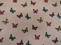 Butterflies Linen Look Cotton Curtain Fabric Upholstery Quilting Cushions Craft