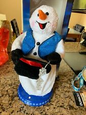 "18"" Gemmy Animated Snow Miser Snowman Christmas Spinning Snowflake blue vest"